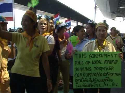 Gleaming Bangkok airport becomes protest camp