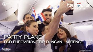 Party Plane for Eurovision trip Duncan Laurence | TeamDuncan