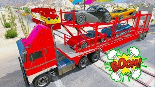 Learn Colors Trailler Truck & Pikachu Cars Songs w Superheroes For Kids And Babies
