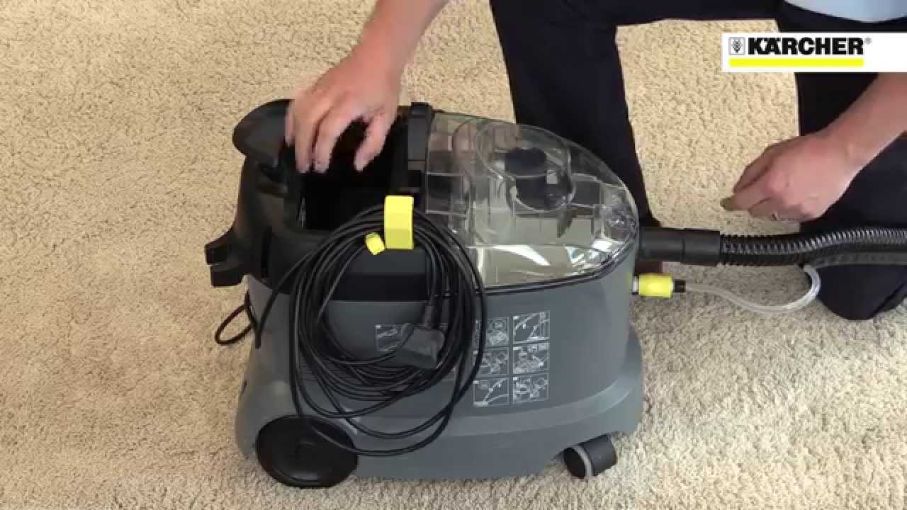 karcher puzzi 8 1 c commercial upholstery spot carpet cleaner youtube. Black Bedroom Furniture Sets. Home Design Ideas