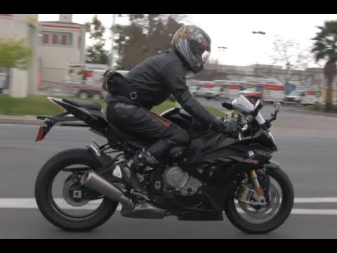 SEXY German Black Beast BMW S1000RR Street Ride Doing Speed Limit Motorcycle Sport Bike