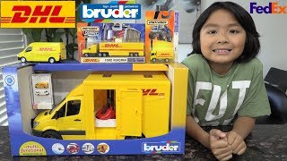 Toy Car Playtime! DHL Delivery Trucks Unboxing. Bruder Toy Truck, Matchbox Diecast. FedEx Truck