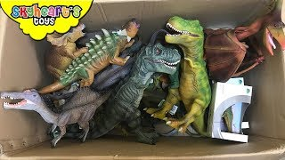 100 DINOSAUR TOYS IN A BOX! Skyheart opens jurassic world dinosaurs for kids trex figures