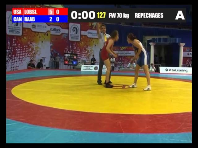 2012 Cadet Worlds 70kg - Anastasia Lobsinger (USA) vs. Kelsey Raab (CAN)