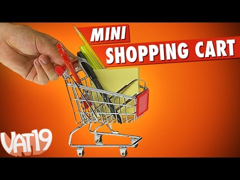 Mini shopping cart for your desk is 300X smaller than the real thing.