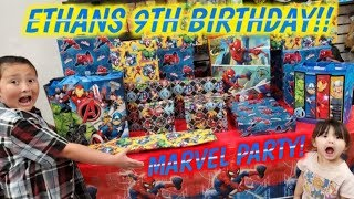 ETHANS 9TH BIRTHDAY PARTY!! OPENING TONS OF PRESENTS! BIG SURPRISES, MYSTERY BOXES, CARDS & TOYS!