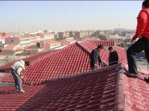 Installation video of PVC roofing tiles how to install the Plastic roof tiles for building
