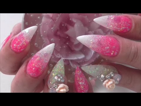 PINK ICE SOLAR DUST MINI STILETTO NAILS Hielo rosada uñas polvo solar| ABSOLUTE NAILS