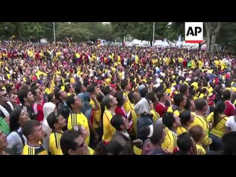 Football fans celebrate after Colombia defeat Greece 3-0 in WC match