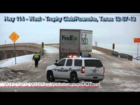 Texas winter storm December 2013 - driving on Hwy 114 Roanoke & Trophy Club