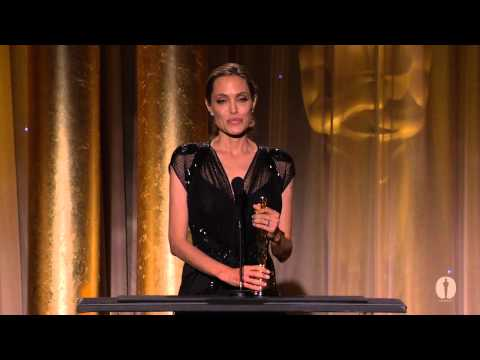 Angelina Jolie receives the Jean Hersholt Humanitarian Award at the 2013 Governors Awards