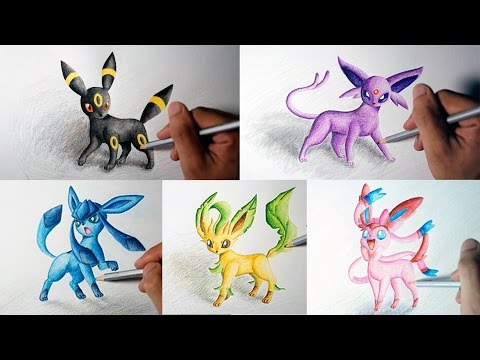 Speed Drawing Eevee Evolutions (Umbreon, Espeon, Sylveon, Leafeon, Glaceon) (Shin Art)