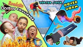 HOVERBOARD WORM / DORITOS ROULETTE CHALLENGE / WINTER POOL SWIM / FUNnel Vision Vlog