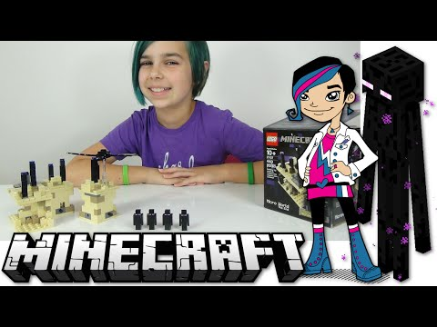 LEGO Minecraft - Micro World The End Review - Endermen and Dragon Mobs