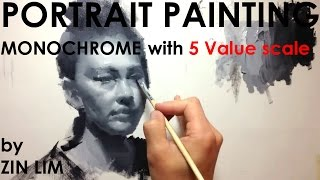 Monochromatic Portrait Painting By 5 Value Scale