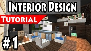 Minecraft: Modern House Interior Design Tutorial Part 1 - 1.8 [ How to make ]
