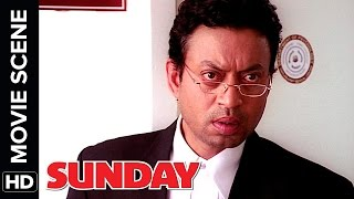 Irrfan Khan sees a ghost | Arshad Warsi, Ayesha Takia | Sunday | Movie Scene | Comedy