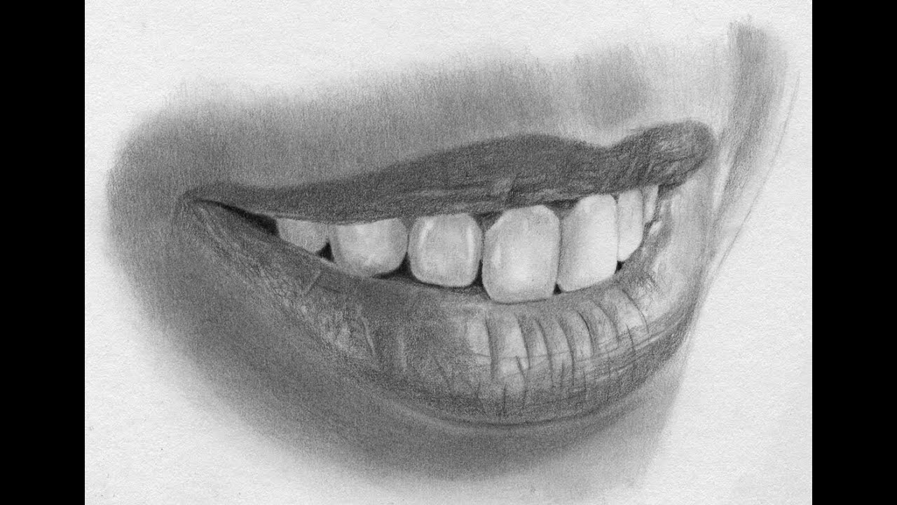 Speed Drawing Realistic Lips and Teeth - YouTube Pencil Drawings Of Lips Smiling