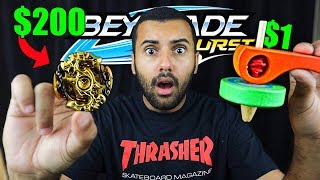$1 BEYBLADE vs $200 BEYBLADE!! (LIMITED GOLD BEYBLADE!!) *WORLDS BEST BEYBLADE!!!*