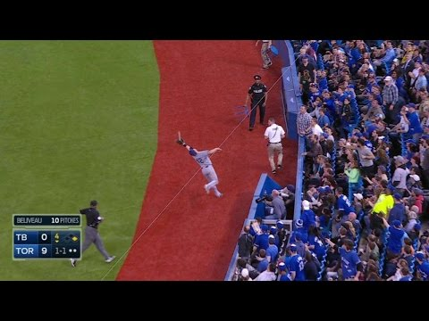 TB@TOR: Forsythe makes a nice catch in foul territory
