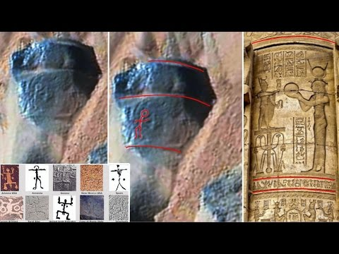 Ancient Aliens On Mars  Ancient Petroglyph And Column Photographed by NASA