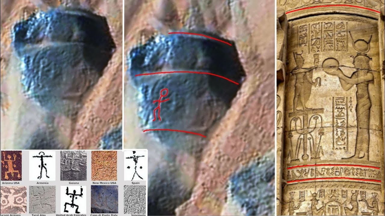 Ancient aliens on mars petroglyph and column