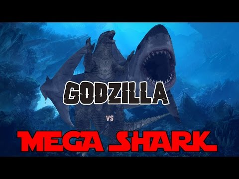 Godzilla 2014 Meets Mega Shark - 3D Animation