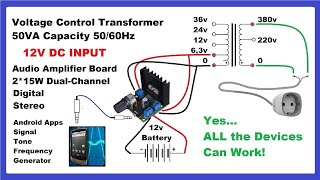 Make DC to AC Inverter with Mobile-App & Audio Amplifier DIY-Circuit!