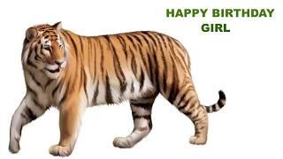 Girl  Animals & Animales - Happy Birthday