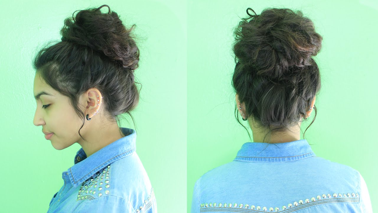Easy Messy Bun Tutorial  Curly Messy Curly Bun