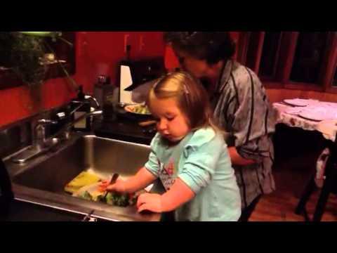 Haillie making salad