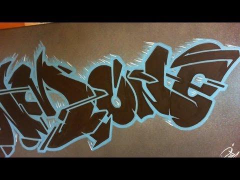 graffiti canvas «PSYM one» // Graff sur toile, noir et bleu ;)
