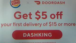 Doordash coupon code for orders at Burger King through the app.