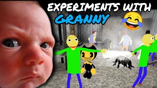 Baldi Bendy Hello Neighbor all in Granny's House😂 || Experiments with Granny#2