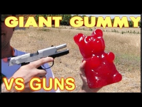 .380acp, 45acp, Wax Slug,  and 12ga DEER SLUG vs  GIANT Gummy Bear
