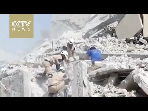 Dozens of civilians killed as Syrian fighter jet crashes marketplace