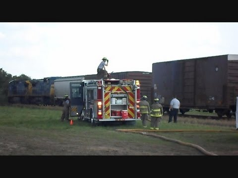 CSX Train Catches On Fire Dumps Box Car Gates Malfunction