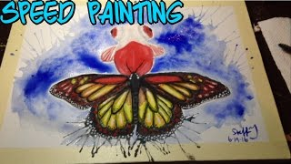 butterfly tail goldfish (literally) watercolor art speed painting