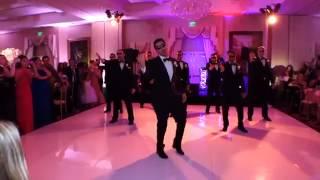 Divertente sposo che balla