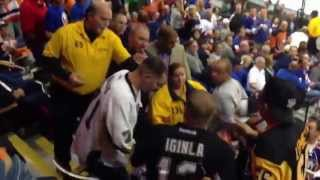 drunk penguins fan getting the boot from the Islanders game