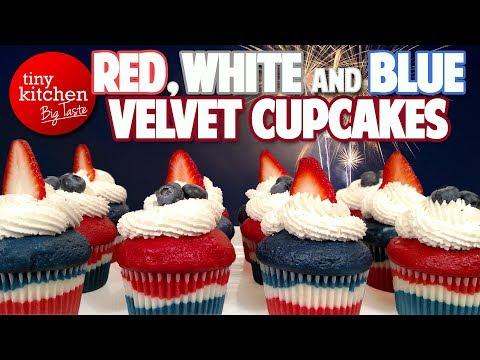 Red, White and Blue Velvet Cupcakes // Tiny Kitchen Big Taste
