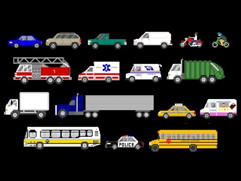 Learn about vehicles you see on the street every day in this fun video with retro video game graphics and music. Includes cars, trucks, emergency vehicles and more! Follow us on Facebook:...