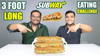 3 FOOT LONG SUBWAY EATING CHALLENGE | Subway Sandwich Eating Competition | Food Challenge