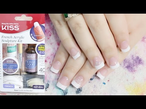 Acrylic Nail For the First Time   KISS French Acrylic Sculpture Kit   Acrylic Nails At Home