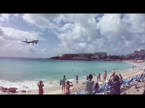 St Maarten Airport American Airlines landing