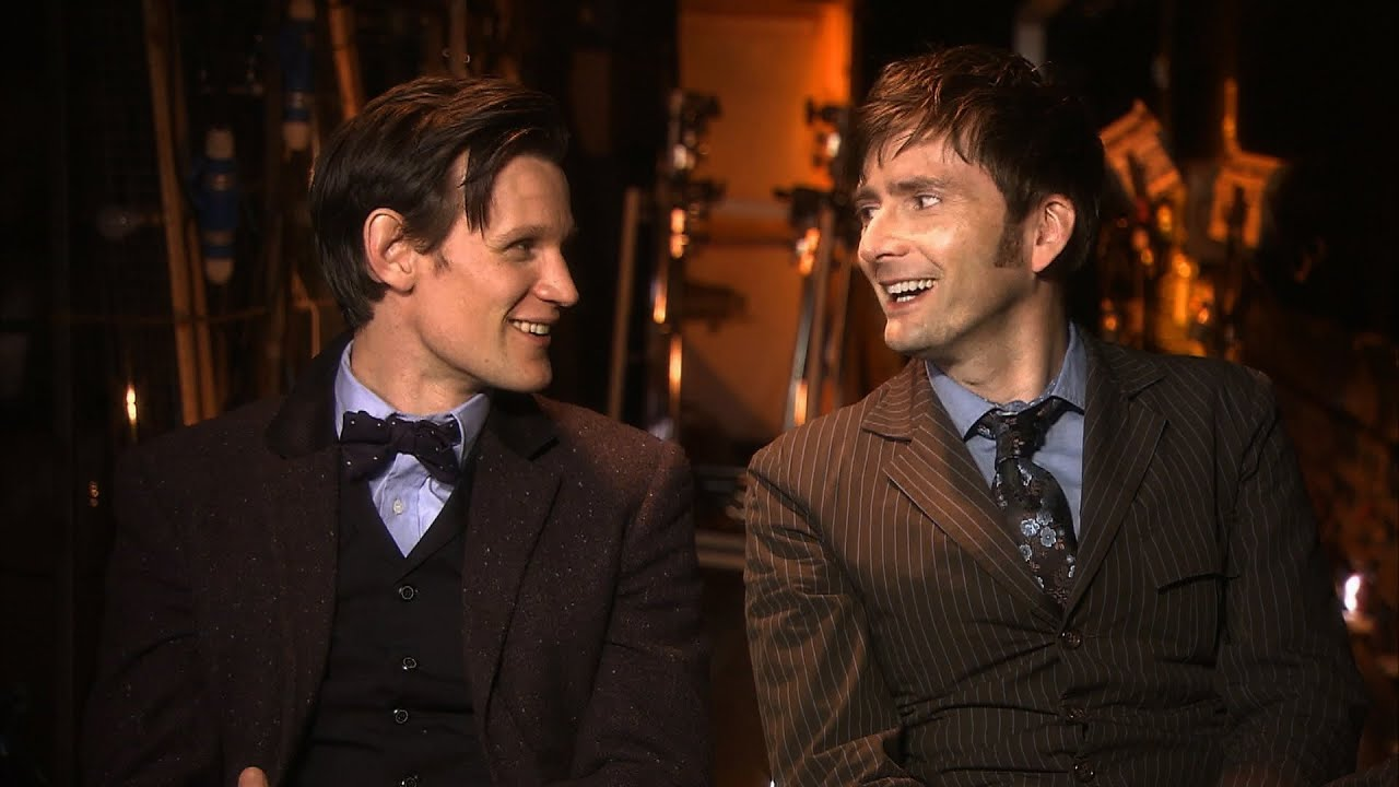 matt smith and david tennant behind the scenes of the