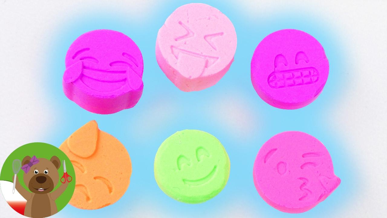 kolorowe Emotikonki z masy jedwabnej | Silk Clay | test foremki silikonowej z emotikonkami