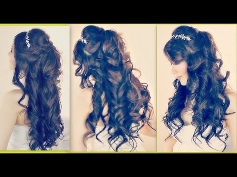 ★LUSH CURLY HAIRSTYLES   EASY FORMAL HALF-UP UPDO FOR PROM WEDDING   MEDIUM LONG HAIR TUTORIAL