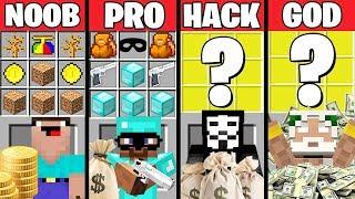 Minecraft Battle: BANK ROBBERY CRAFTING CHALLENGE - NOOB vs PRO vs HACKER vs GOD Minecraft Animation