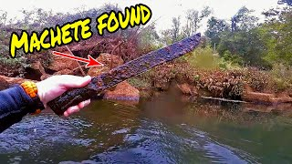 Found Machete, Antique Ford Hubcap Scuba Diving for Treasure in River
